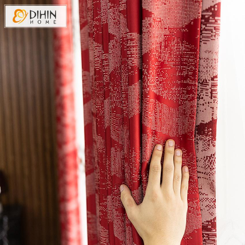 DIHINHOME Home Textile European Curtain DIHIN HOME European Retro Red Color Curtains High Precision Jacquard,Blackout Grommet Window Curtain for Living Room ,52x63-inch,1 Panel