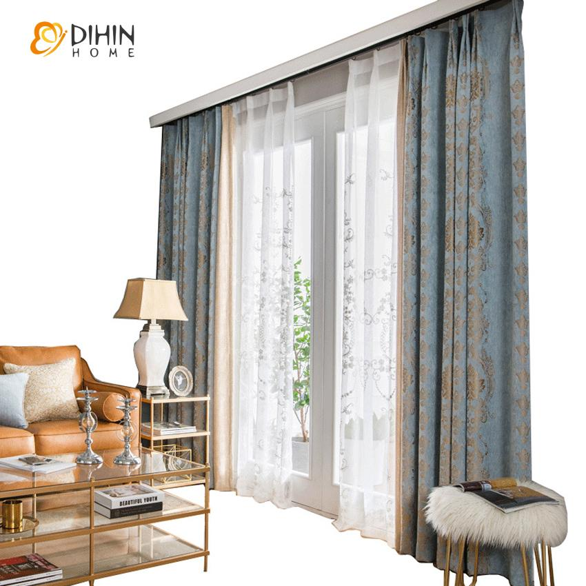 DIHINHOME Home Textile European Curtain DIHIN HOME European Thickened Jacquard,Blackout Curtains Grommet Window Curtain for Living Room ,52x84-inch,1 Panel
