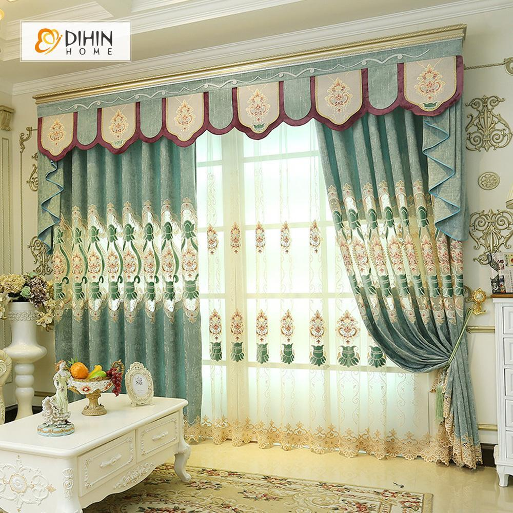 DIHINHOME Home Textile European Curtain DIHIN HOME Exquisite Embroidered Valance ,Blackout Curtains Grommet Window Curtain for Living Room ,52x84-inch,1 Panel