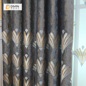 DIHINHOME Home Textile European Curtain DIHIN HOME Exquisite Feather Embroidered Valance,Blackout Curtains Grommet Window Curtain for Living Room ,52x84-inch,1 Panel
