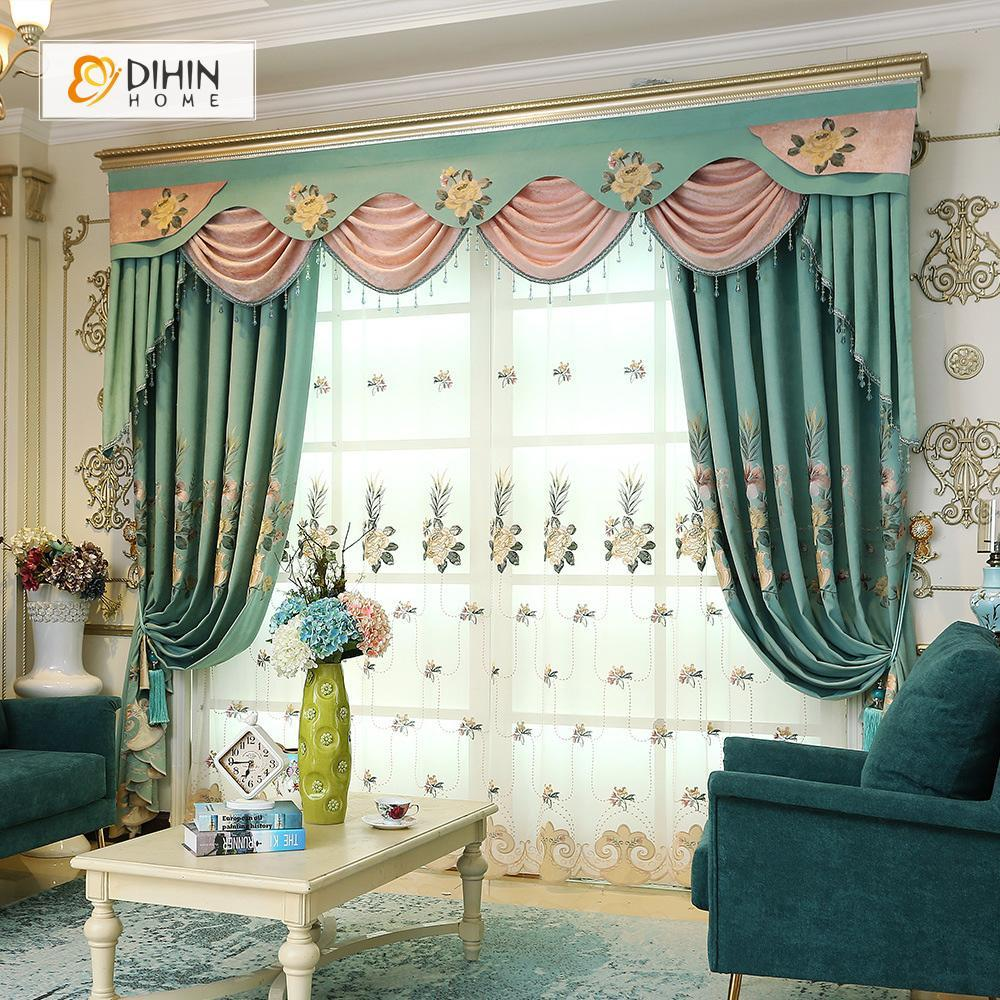 DIHINHOME Home Textile European Curtain DIHIN HOME Exquisite Luxurious Embroidered Valance ,Blackout Curtains Grommet Window Curtain for Living Room ,52x84-inch,1 Panel