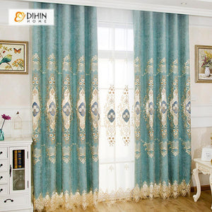 DIHINHOME Home Textile European Curtain DIHIN HOME Exquisite White Flowers Embroidered Valance,Blackout Curtains Grommet Window Curtain for Living Room ,52x84-inch,1 Panel