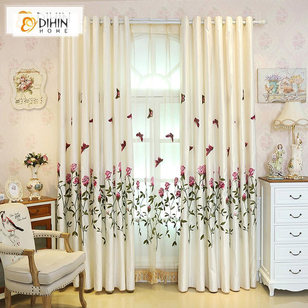 DIHINHOME Home Textile European Curtain DIHIN HOME Fascinating Flower and Butterfly Embroidered Valance,Blackout Curtains Grommet Window Curtain for Living Room ,52x84-inch,1 Panel