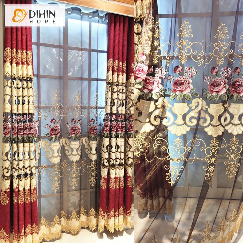 DIHINHOME Home Textile European Curtain DIHIN HOME Fashion High Quality Embroidered Valance ,Blackout Curtains Grommet Window Curtain for Living Room ,52x84-inch,1 Panel