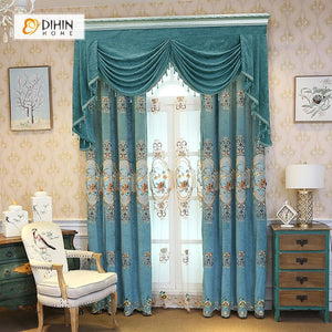 DIHINHOME Home Textile European Curtain DIHIN HOME Flower Embroidered Blue Valance ,Blackout Curtains Grommet Window Curtain for Living Room ,52x84-inch,1 Panel