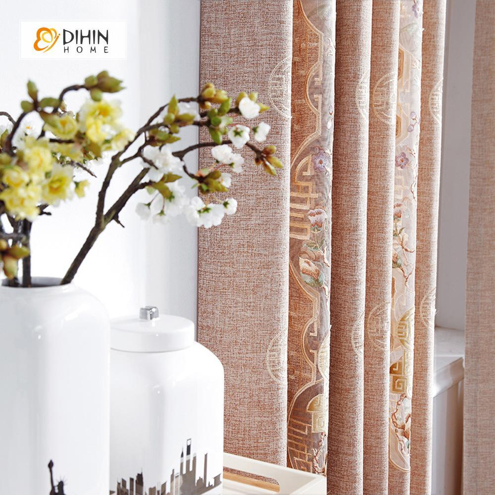 DIHINHOME Home Textile European Curtain DIHIN HOME Flowers and Branch Embroidered,Blackout Curtains Grommet Window Curtain for Living Room ,52x84-inch,1 Panel