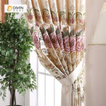 DIHINHOME Home Textile European Curtain DIHIN HOME Flowers and Butterflies Embroidered Valance,Blackout Curtains Grommet Window Curtain for Living Room ,52x84-inch,1 Panel