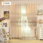 DIHINHOME Home Textile European Curtain DIHIN HOME Flowers Embroidered Beige Background ,Blackout Curtains Grommet Window Curtain for Living Room ,52x84-inch,1 Panel