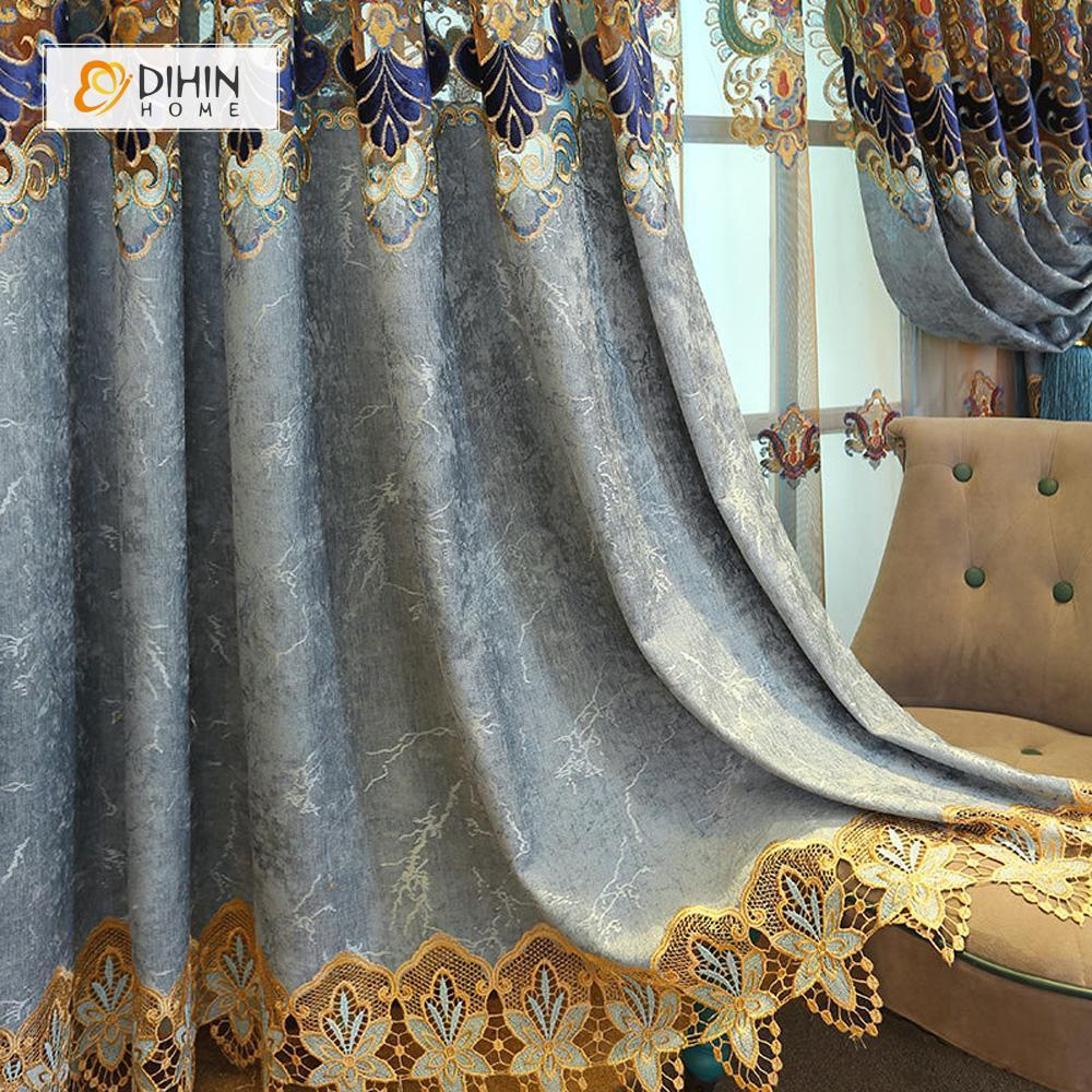 DIHINHOME Home Textile European Curtain DIHIN HOME Flowers Embroidered Blue Valance ,Blackout Curtains Grommet Window Curtain for Living Room ,52x84-inch,1 Panel