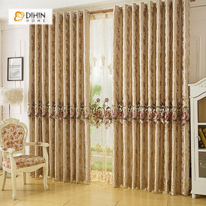 DIHINHOME Home Textile European Curtain DIHIN HOME Flowers Embroidered Brown Background ,Blackout Curtains Grommet Window Curtain for Living Room ,52x84-inch,1 Panel