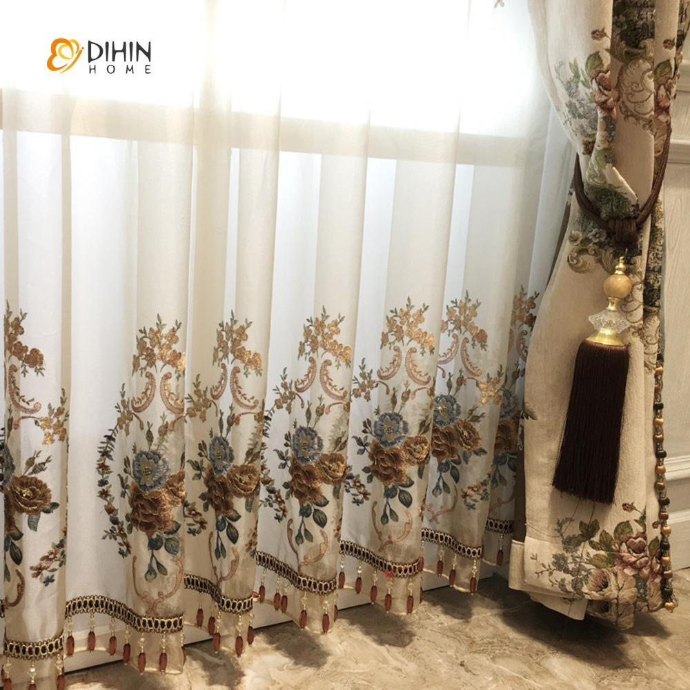 DIHINHOME Home Textile European Curtain DIHIN HOME Flowers Embroidered Brown Valance,Blackout Curtains Grommet Window Curtain for Living Room ,52x84-inch,1 Panel