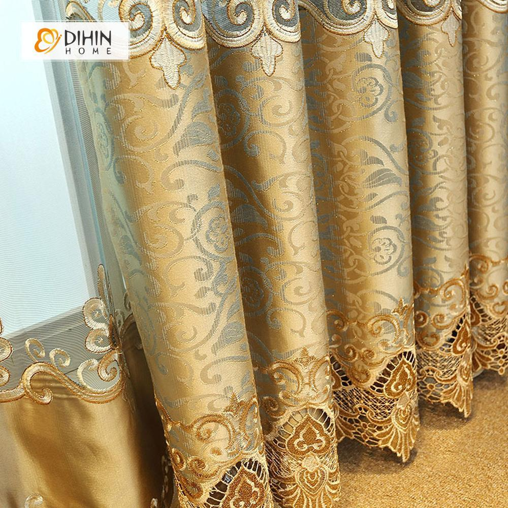 DIHINHOME Home Textile European Curtain DIHIN HOME Flowers Embroidered Golden Background ,Blackout Curtains Grommet Window Curtain for Living Room ,52x84-inch,1 Panel