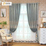 DIHINHOME Home Textile European Curtain DIHIN HOME Flowers Embroidered Grey Valance ,Blackout Curtains Grommet Window Curtain for Living Room ,52x84-inch,1 Panel