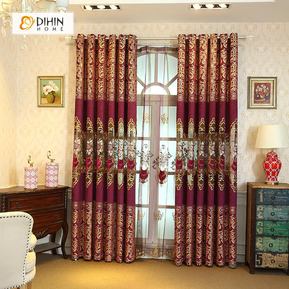 DIHIN HOME Flowers Embroidered Red Curtain,Blackout Curtains Grommet Window  Curtain for Living Room ,52x84-inch,1 Panel