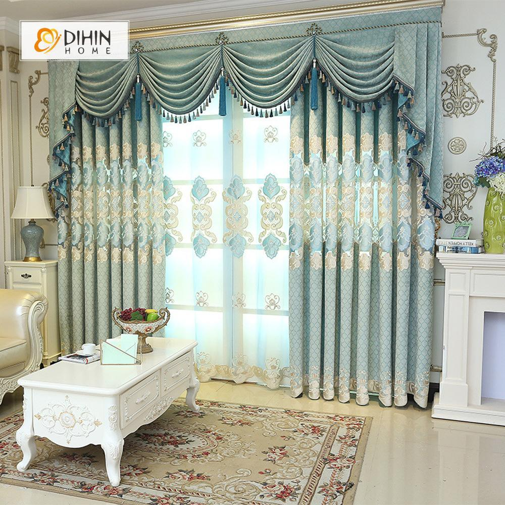 DIHINHOME Home Textile European Curtain DIHIN HOME Flowers Luxury Exquisite Embroidered Valance ,Blackout Curtains Grommet Window Curtain for Living Room ,52x84-inch,1 Panel