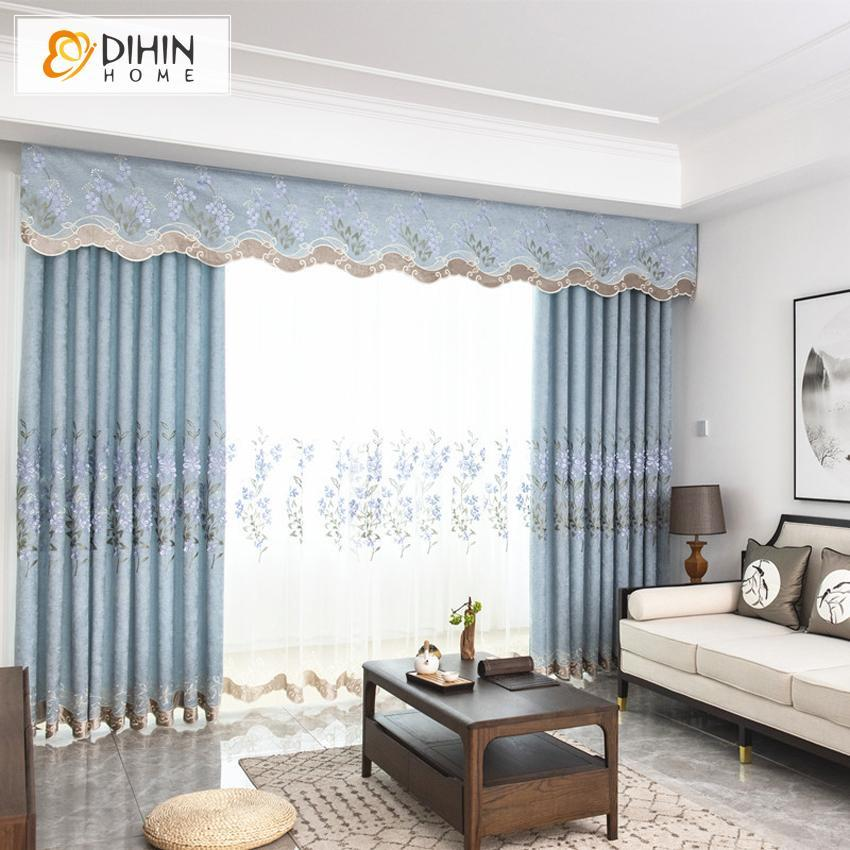 DIHINHOME Home Textile European Curtain DIHIN HOME Garden Blue Color Luxury Embroidered Valance ,Blackout Curtains Grommet Window Curtain for Living Room ,52x84-inch,1 Panel