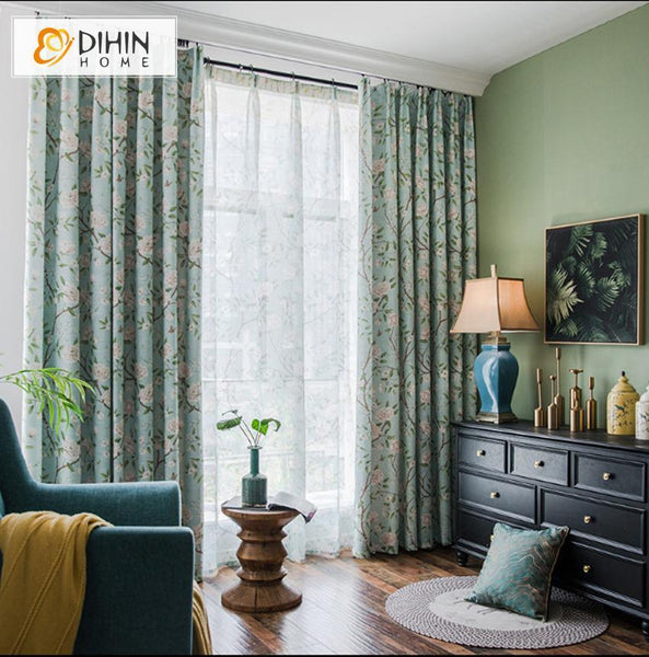 DIHIN HOME Garden Printed Curtains ,Blackout Curtains Grommet Window  Curtain for Living Room ,52x84-inch,1 Panel