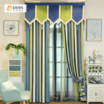 DIHINHOME Home Textile European Curtain DIHIN HOME Green and Blue Valance ,Blackout Curtains Grommet Window Curtain for Living Room ,52x84-inch,1 Panel