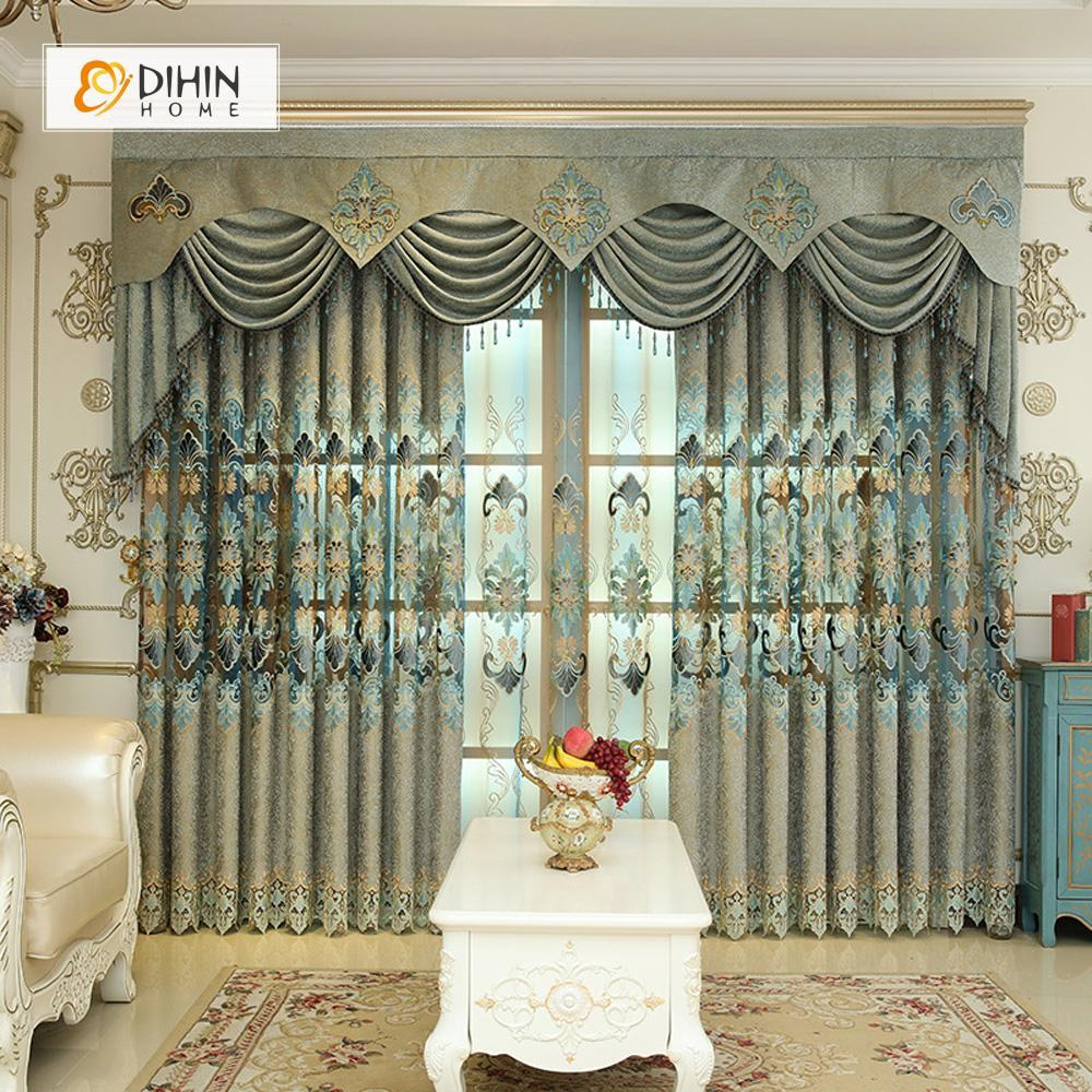 DIHINHOME Home Textile European Curtain DIHIN HOME Green Embroidered Luxurious Valance ,Blackout Curtains Grommet Window Curtain for Living Room ,52x84-inch,1 Panel