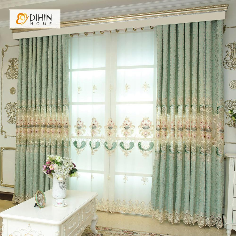 DIHINHOME Home Textile European Curtain DIHIN HOME Green Exquisite Luxurious Embroidered Valance ,Blackout Curtains Grommet Window Curtain for Living Room ,52x84-inch,1 Panel