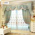 DIHINHOME Home Textile European Curtain DIHIN HOME Green Flowers Exquisite Luxurious Embroidered Valance ,Blackout Curtains Grommet Window Curtain for Living Room ,52x84-inch,1 Panel