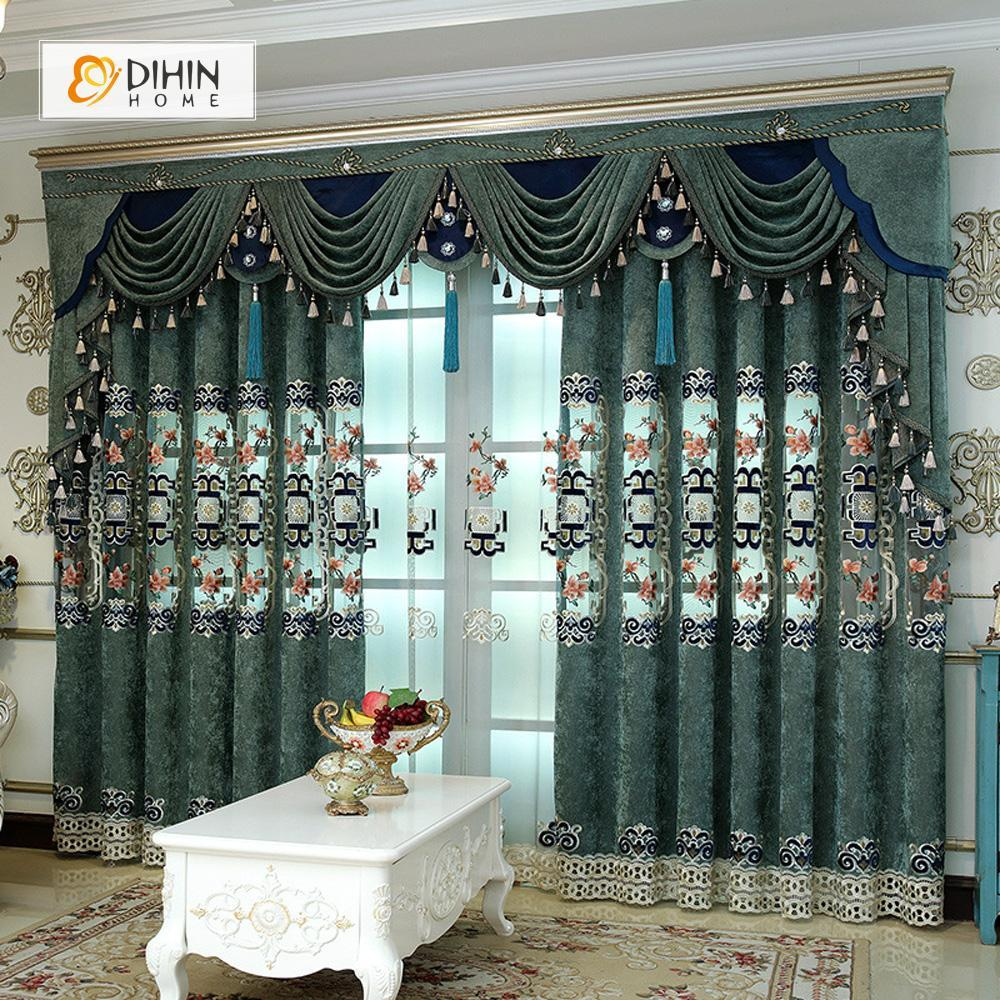 DIHINHOME Home Textile European Curtain DIHIN HOME Green Luxury Exquisite Embroidered Valance ,Blackout Curtains Grommet Window Curtain for Living Room ,52x84-inch,1 Panel