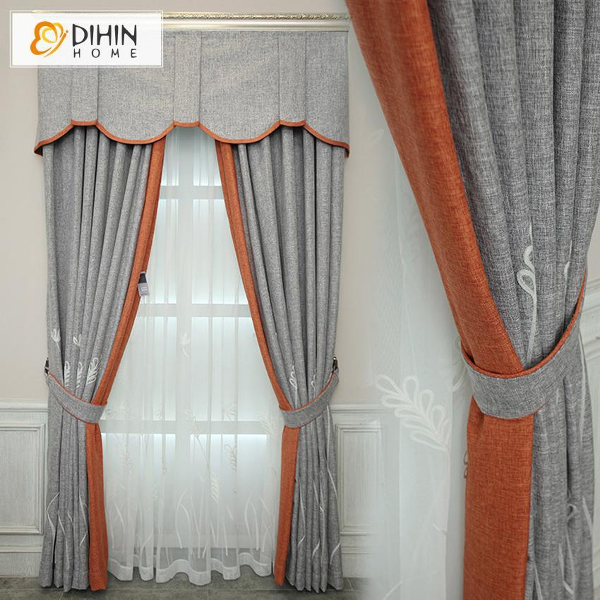 DIHIN HOME Grey and Orange Printed,Blackout Curtains Grommet Window Curtain  for Living Room ,52x84-inch,1 Panel