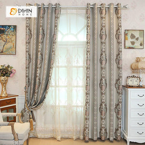 DIHINHOME Home Textile European Curtain DIHIN HOME Grey Elegant Embroidered,Blackout Grommet Window Curtain for Living Room ,52x63-inch,1 Panel