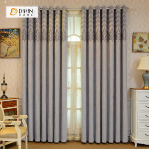 DIHINHOME Home Textile European Curtain DIHIN HOME Grey Embroidered,Velvet,Blackout Grommet Window Curtain for Living Room ,52x63-inch,1 Panel