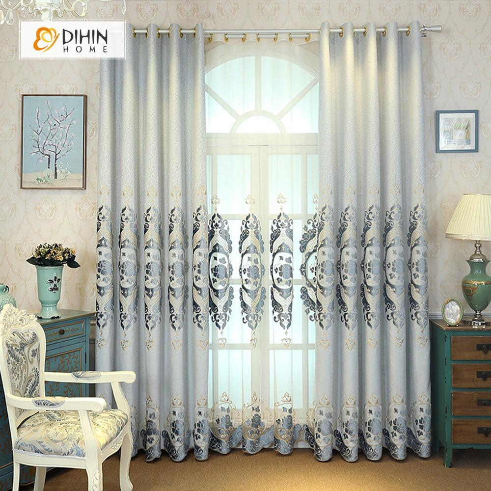 DIHINHOME Home Textile European Curtain DIHIN HOME Grey Flowers Luxurious Exquisite Embroidered Valance ,Blackout Curtains Grommet Window Curtain for Living Room ,52x84-inch,1 Panel