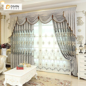 DIHINHOME Home Textile European Curtain DIHIN HOME Grey Luxurious Embroidered Valance ,Blackout Curtains Grommet Window Curtain for Living Room ,52x84-inch,1 Panel