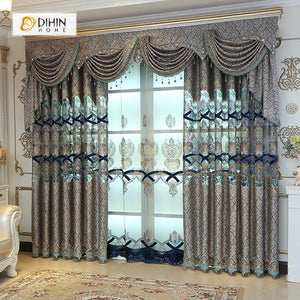 DIHINHOME Home Textile European Curtain DIHIN HOME Grey Luxury Embroidered Valance ,Blackout Curtains Grommet Window Curtain for Living Room ,52x84-inch,1 Panel