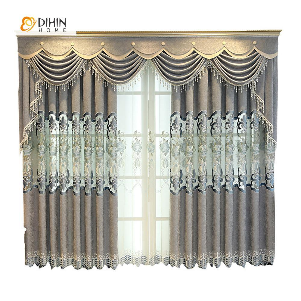 DIHINHOME Home Textile European Curtain DIHIN HOME Grey Luxury Exquisite Embroidered Valance ,Blackout Curtains Grommet Window Curtain for Living Room ,52x84-inch,1 Panel