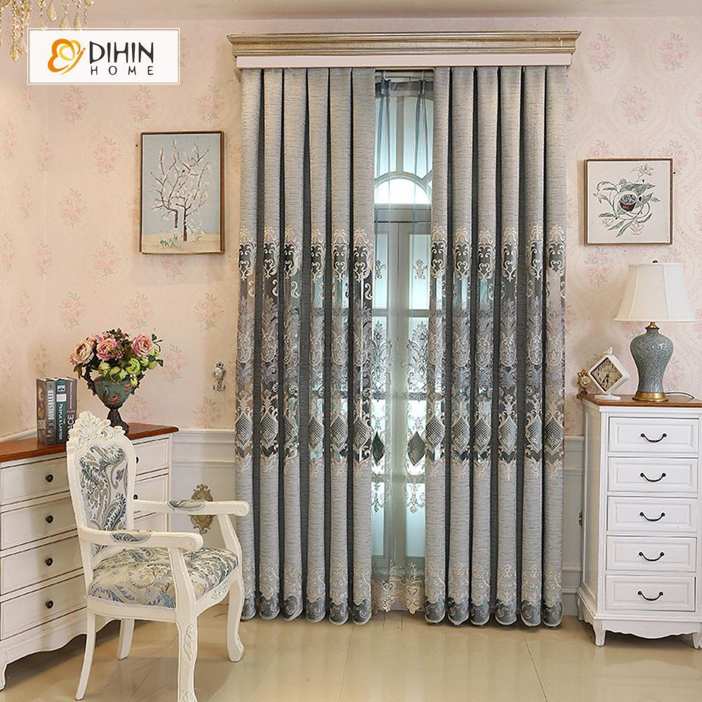 DIHINHOME Home Textile European Curtain DIHIN HOME Grey Pattern Embroidered,Blackout Curtains Grommet Window Curtain for Living Room ,52x84-inch,1 Panel