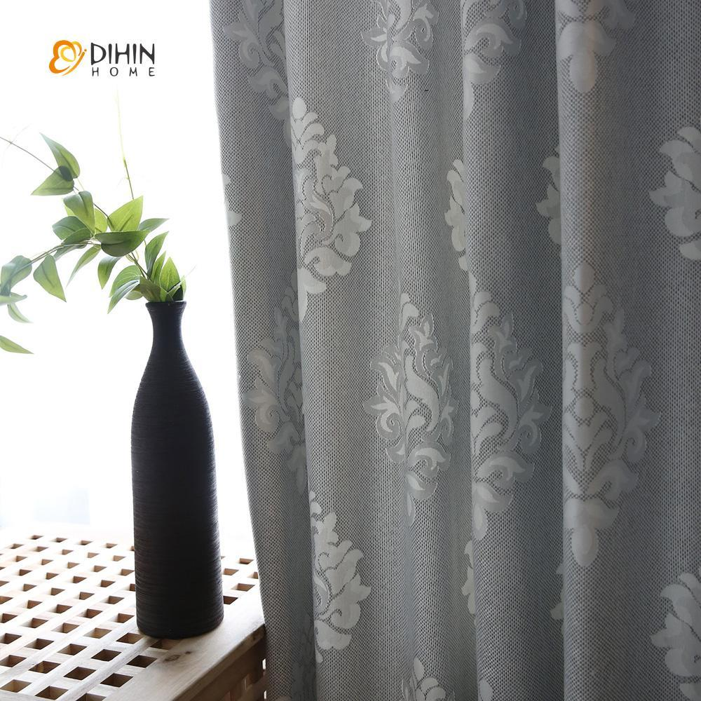 DIHINHOME Home Textile European Curtain DIHIN HOME Grey Pattern Jacquard,Blackout Grommet Window Curtain for Living Room ,52x63-inch,1 Panel