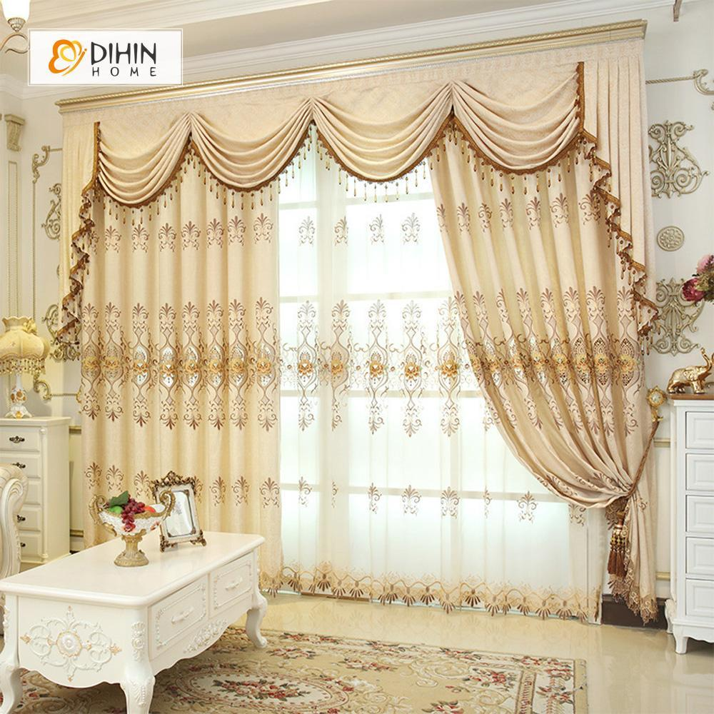 DIHINHOME Home Textile European Curtain DIHIN HOME High Quality Beige Embroidered Valance ,Blackout Curtains Grommet Window Curtain for Living Room ,52x84-inch,1 Panel