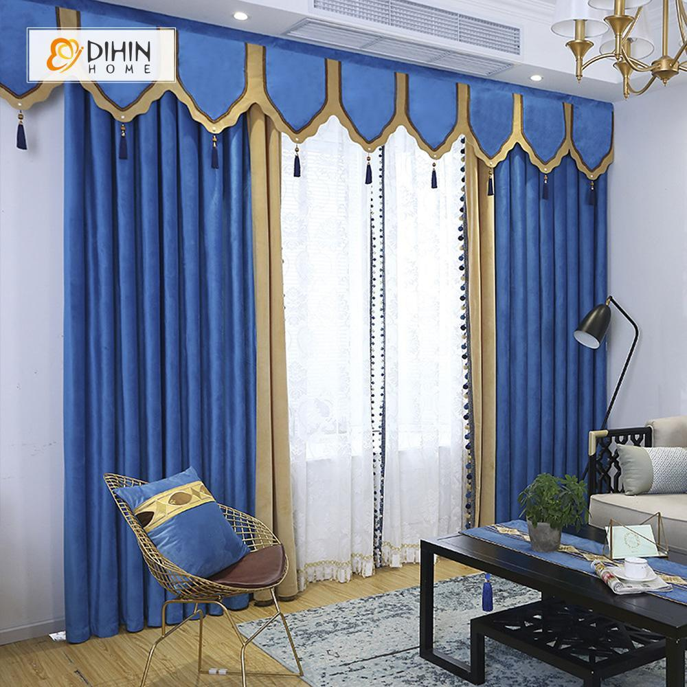 DIHINHOME Home Textile European Curtain DIHIN HOME High Quality Blue Embroidered Valance ,Blackout Curtains Grommet Window Curtain for Living Room ,52x84-inch,1 Panel