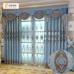 DIHINHOME Home Textile European Curtain DIHIN HOME High Quality Blue Flowers Embroidered Valance ,Blackout Curtains Grommet Window Curtain for Living Room ,52x84-inch,1 Panel