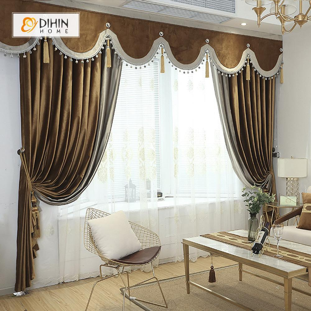 DIHINHOME Home Textile European Curtain DIHIN HOME High Quality Brown Embroidered Valance ,Blackout Curtains Grommet Window Curtain for Living Room ,52x84-inch,1 Panel