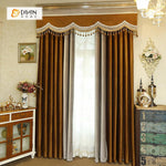 DIHINHOME Home Textile European Curtain DIHIN HOME High Quality Coffee Embroidered Valance ,Blackout Curtains Grommet Window Curtain for Living Room ,52x84-inch,1 Panel