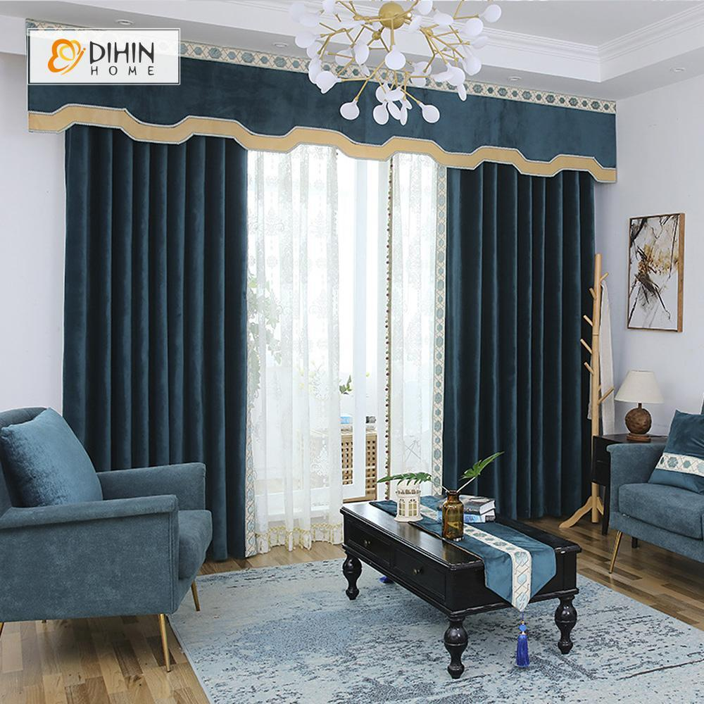 DIHINHOME Home Textile European Curtain DIHIN HOME High Quality Dark Blue Embroidered Valance ,Blackout Curtains Grommet Window Curtain for Living Room ,52x84-inch,1 Panel