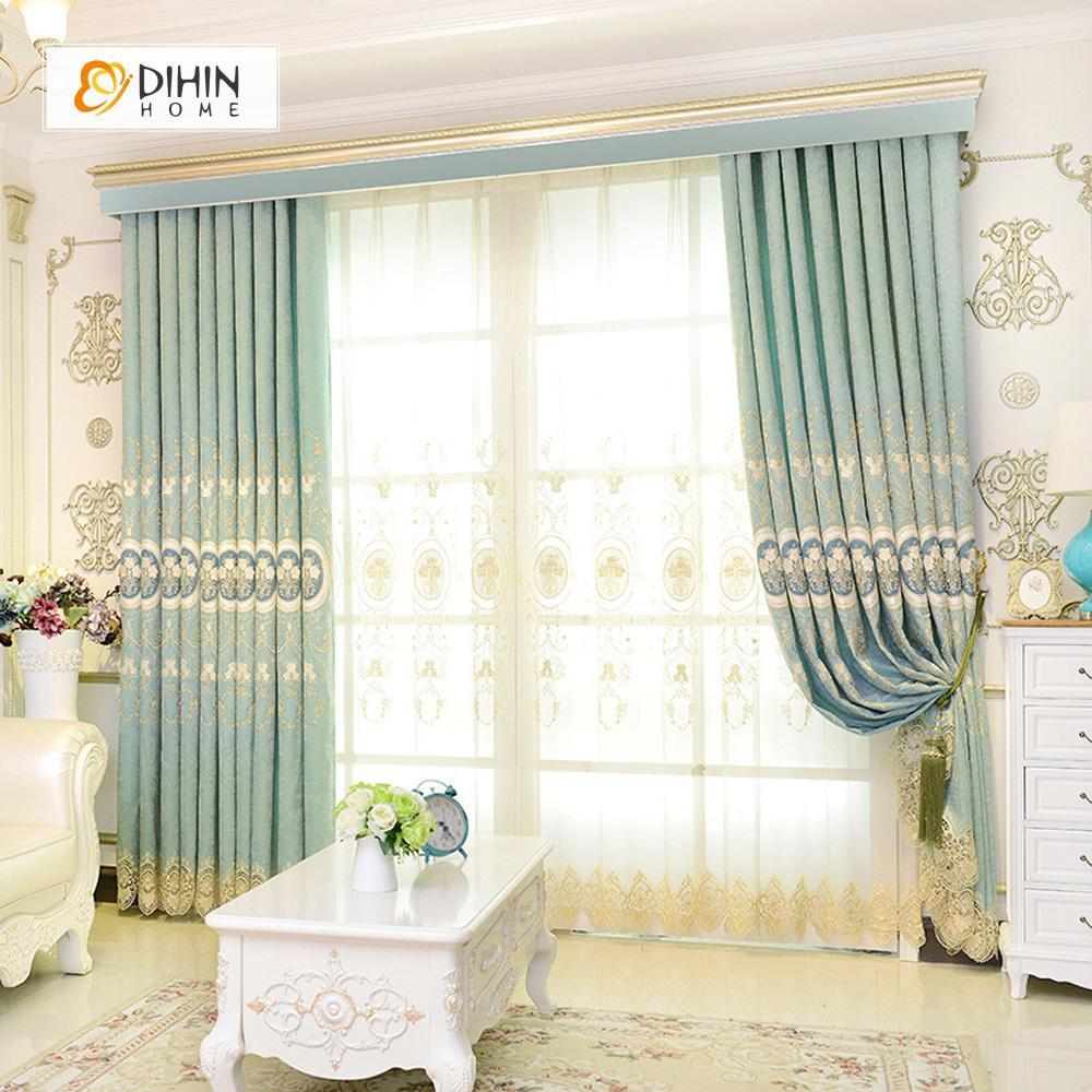 DIHINHOME Home Textile European Curtain DIHIN HOME High Quality Exquisite Embroidered Valance ,Blackout Curtains Grommet Window Curtain for Living Room ,52x84-inch,1 Panel
