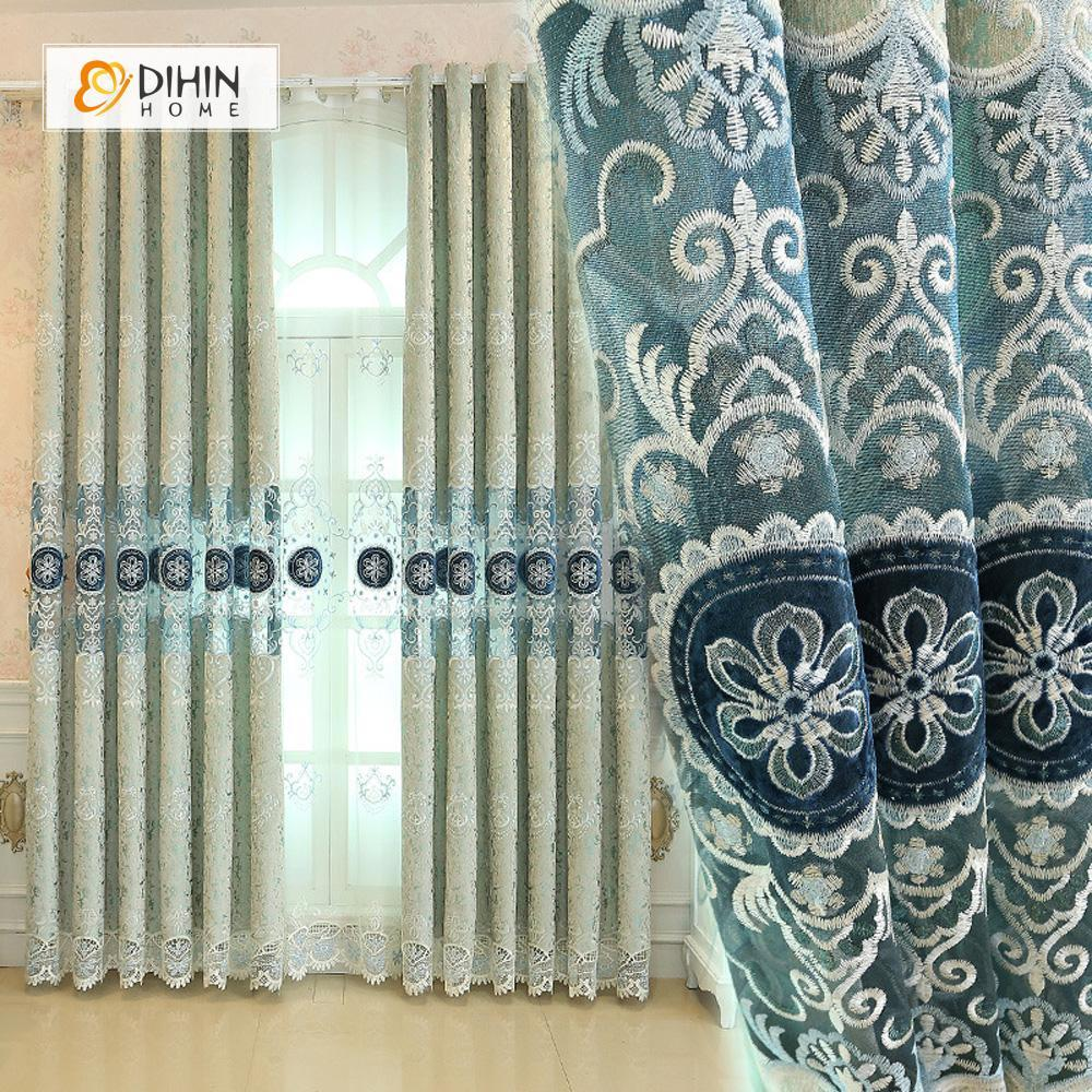 DIHINHOME Home Textile European Curtain DIHIN HOME High-quality Flower Embroidered,Blackout Grommet Window Curtain for Living Room ,52x63-inch,1 Panel