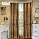 DIHINHOME Home Textile European Curtain DIHIN HOME High Quality Flowers Embroidered Brown Valance ,Blackout Curtains Grommet Window Curtain for Living Room ,52x84-inch,1 Panel