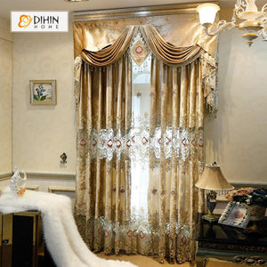 DIHINHOME Home Textile European Curtain DIHIN HOME High Quality Flowers Embroidered Valance ,Blackout Curtains Grommet Window Curtain for Living Room ,52x84-inch,1 Panel