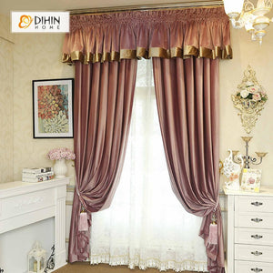 DIHINHOME Home Textile European Curtain DIHIN HOME High Quality Red Embroidered Valance ,Blackout Curtains Grommet Window Curtain for Living Room ,52x84-inch,1 Panel