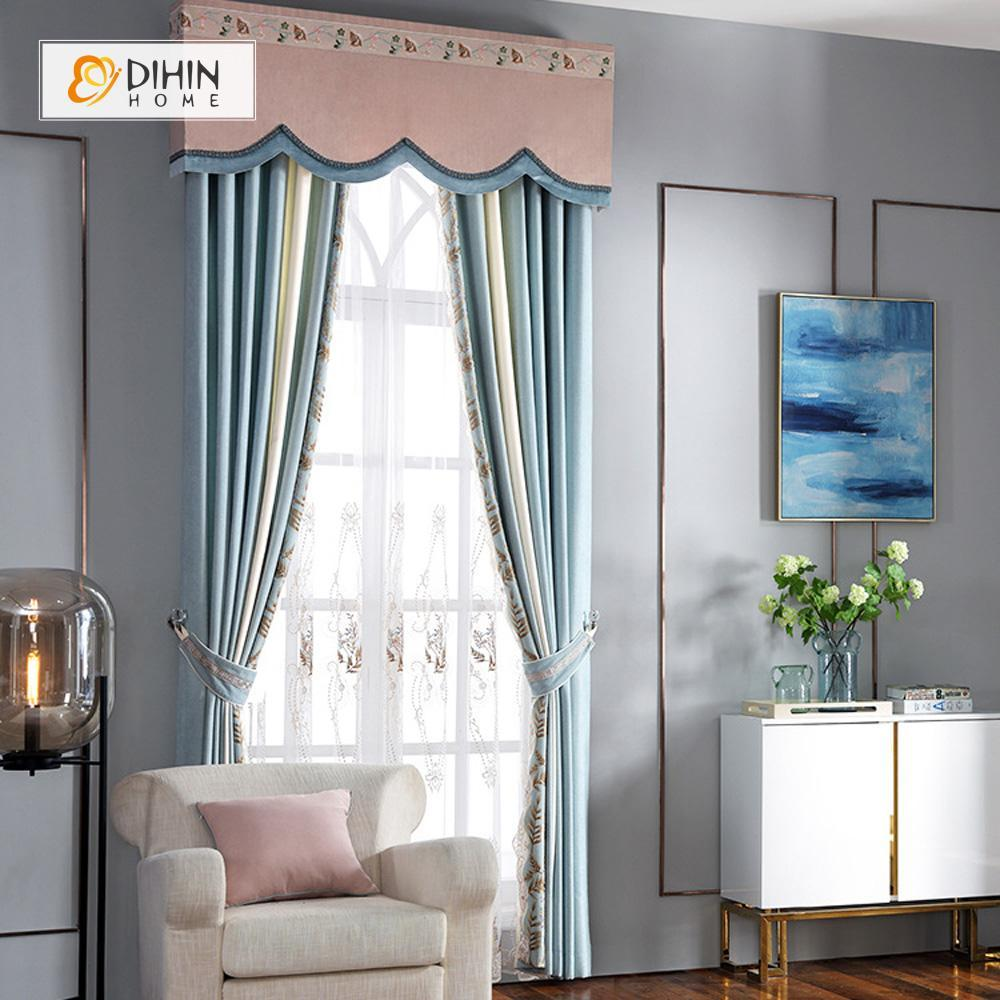 DIHINHOME Home Textile European Curtain DIHIN HOME Leaves Embroidered Pink Valance,Blackout Curtains Grommet Window Curtain for Living Room ,52x84-inch,1 Panel