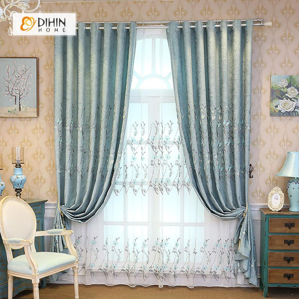 Light Blue Curtains Living Room.Dihin Home Light Blue Butterfly Embroidered Blackout Curtains Grommet Window Curtain For Living Room 52x84 Inch 1 Panel