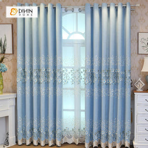 DIHINHOME Home Textile European Curtain DIHIN HOME Light Blue Elegant Flowers Embroidered,Blackout Curtains Grommet Window Curtain for Living Room ,52x84-inch,1 Panel
