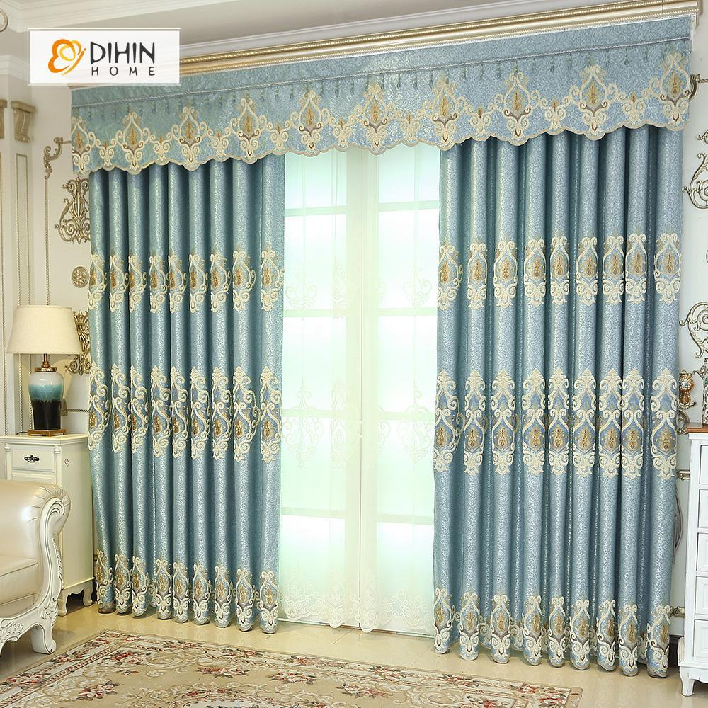 DIHINHOME Home Textile European Curtain DIHIN HOME Light Blue High Quality Embroidered Valance ,Blackout Curtains Grommet Window Curtain for Living Room ,52x84-inch,1 Panel